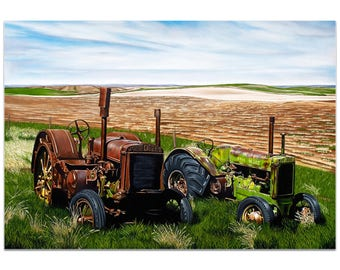 Americana Wall Art 'Two John Boys' by Todd Mandeville - Classic Tractor Decor Country Rustic Farm Landscape on Metal or Plexiglass