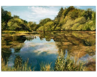 Traditional Wall Art 'Lake' by Trish Savides - River Landscape Decor Country Rustic Trees Artwork on Metal or Plexiglass