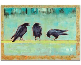 Contemporary Wall Art 'Crow Bar 1' by Janice Sugg - Urban Birds Decor Modern WIldlife Artwork on Metal or Plexiglass
