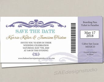 Disney Boarding Pass Ticket Wedding Save the Date Wedding Reception Elope Invitation Card Magnet Destination Nautical Travel Cruise purple