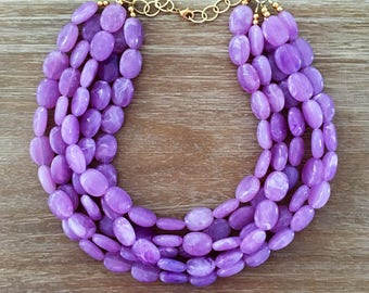 Statement Necklace Bridesmaid Jewelry JACKIE O LAVENDER FIELDS Wedding Jewelry Statement Jewlery White Necklace