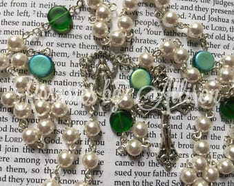 White Swarovski Crystal pearl and Matte Green AB Czech disc bead Rosary with silver plated color Our Lady of Grace center and crucifix