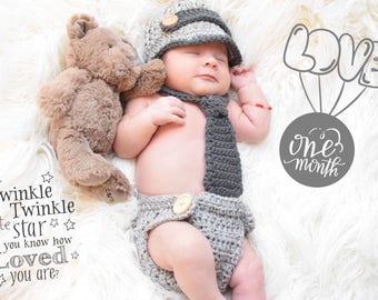 Crochet newborn newsboy hat, baby newsboy hat, newsboy outfit, newsboy hat, newsboy cap, crochet necktie, diaper cover, newborn photo prop