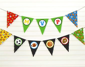 MVP Banner - Sports Banner - Sports Birthday - MVP Party - Sports Baby Shower - Sports Decorations - Football Party - Soccer Party - Pennant