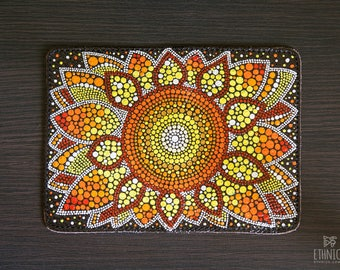 Dot painted leather passport cover with sunflower, gift idea for traveler, leather passport case