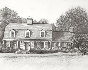 "Custom Home Drawing - Original graphite pencil drawing on paper 8x10"""