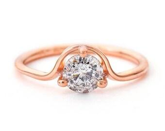 ON SALE Gray Diamond Engagement Ring, Salt And Pepper Diamond Ring, Rose Gold Engagement Ring, Grey Diamond Ring, Solitaire Ring, 18k Rose G