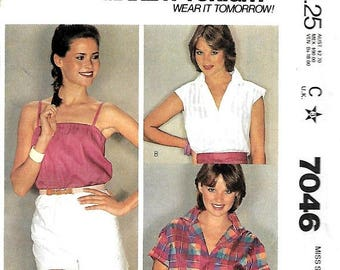 ON SALE McCall's 7046 Misses Shirt And Camisole Sewing Pattern, Make It Tonight, Medium, UNCUT