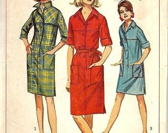ON SALE 1960s Misses Shift Dress Pattern, Simplicity 6491, Size 16, Bust 36