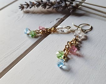 Butterfly Flowers, Swarovski Crystal Earrings, Ready to Ship