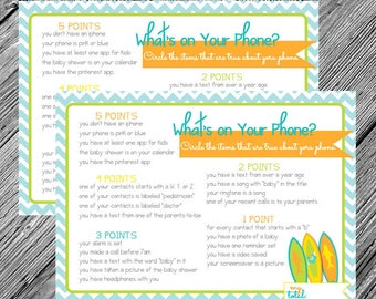 What's on Your Phone - Baby Shower Game - Little Surfer Dude Theme - Orange, Teal, Lime, Yellow