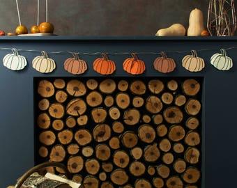Ombre Pumpkin - Paper Garland - Fall Mantel Decor - Thanksgiving Banners - Rustic Mantle Decor -  Fall Garland - Autumn Garland