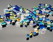 Iridescent Glass Tiles, Dichroic Mosaic Tiles, Dichroic Cabochons, Small Mosaic Tiles, 2 + Ounces of Assorted Mosaic Dichroic Tiles,