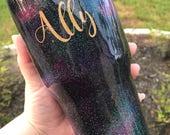 Galaxy Glitter Cup, Glitter Dipped Galaxy Tumbler, Space Cup, Glitter Tumbler, monogram glitter Tumbler, glitter yeti, galaxy glitter