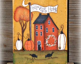 Primitive Hand Painted Fall Table Sitter ~ Fall Decor ~ Autumn Decor ~ Primitive Fall ~ Harvest Home ~ Thanksgiving Decor ~ Farmhouse Decor