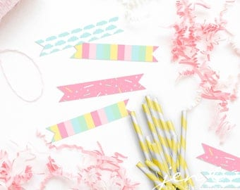 Rainbow Sprinkle Straw Flags - Donut Stop Believin' - Unicorn Straw Flags - Donut Straw Flags