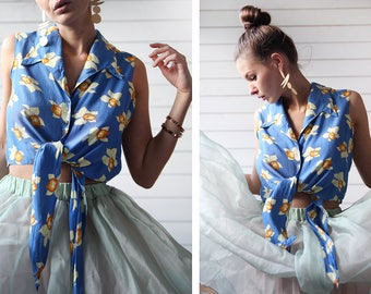 Pin up vintage blue yellow daffodil floral print sleeveless tie front crop shirt blouse top S M L