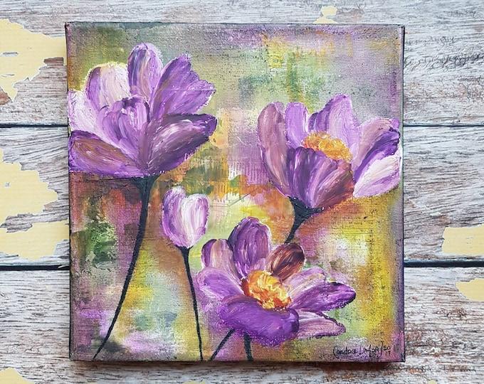 "Original Floral Painting | Flower Art | Original 8x8 Canvas | Wildflower Art | Purple Flower Painting | ""Wildflowers"" | Saltons Cove Studio"
