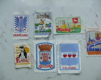 Vintage Swedish se of seven Mid Century Souvenir patches - Unused