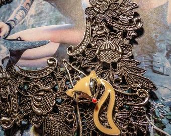 Silver bib necklace lace gypsy Bohemian cream ♠Fox♠