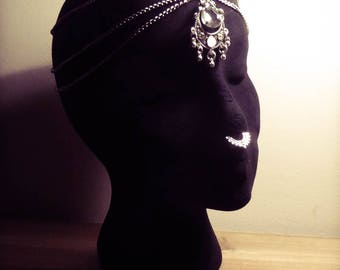 "Silver belly dance witch ""Wicca"" Spike headdress head chain"