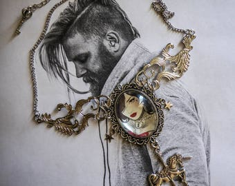 Mexican Sugar Skulls calavera MC Ink ♰Tattooed Heart♰ Bohemian gypsy cameo silver bib necklace