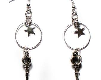 Starry key Silver earrings
