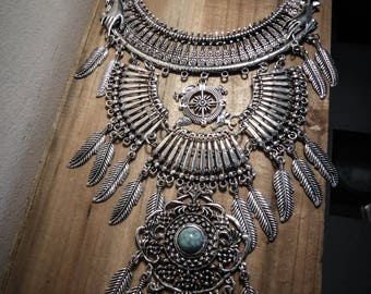 Necklace silver feather bib steampunk ♰Game of Thrones♰ maxi