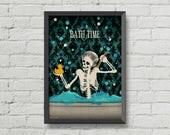 Bath time poster, skeletons,skulls art,gothic,cute,home decor,wall decor,bathroom decor,bathroom sign,digital print,victorian,