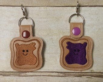 BFF Peanut Butter and Jelly Keychains - Best Friends Keychain Set - Friendship Keychain - BFF Gift - PB&J Zipper Pull