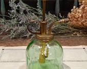 Vintage Green Vaseline(?) Glass Plant Atomizer / Spray Mister / Indoor Gardening / Windowsill Garden