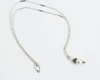 Pearl and Crystal Pendant Necklace on Fine Silver Chain