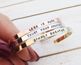 Personalized Skinny Bangle Bracelet, Mantra Motivational Inspirational, Handmade Handstamped, Words Dates Names Roman Numerals, Mother's Day