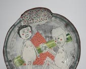 Colorful Handmade Ceramic Dish With Drawing of Two People Sharing Coffee Platter with Geometric Decorations
