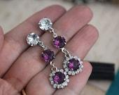 Reserved Listing For Karen Swarovski Purple Amethyst & Crystal earrings and matching Bracelet