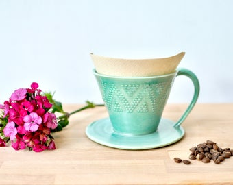 Handmade Turquoise Coffee pour-over with geometric design