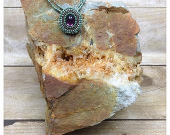 OOAK Beaded Swarovski Crystal Amethyst Necklace