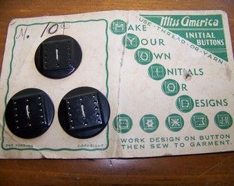 "Vintage DIY Initial Buttons on Original Card 1 1/8"""