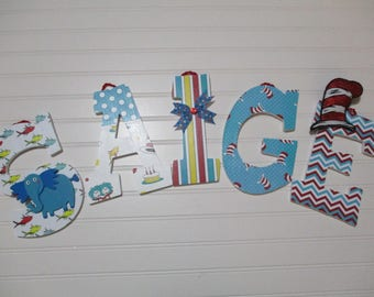 "SAIGE - 12.00 PER LETTER play room word, 9"" wooden letters, Dr. Seuss theme, Cat in the Hat, Thing 1, Thing 2, Sam-I-Am, Lorax, Horton"
