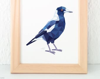 Magpie bird print, Australian magpie, Australian bird art, Black and white print, Australian wildlife, Australian bird decor, Magpie art