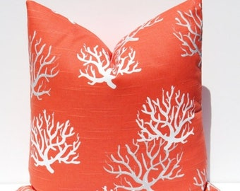 15% Off Sale Coral Pillow, Pillows, Decorative pillow, Coral Pillow Cover,  accent Pillow, Pillow Cover,  Beach Pillow, Beach Decor,  coral