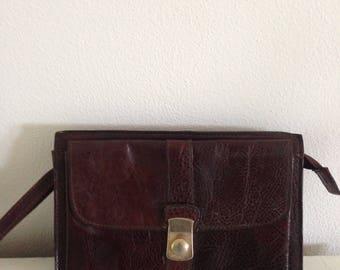 Vintage leather clutch leather handbag evening bag