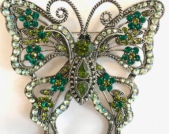 Vintage Emerald Green Rhinestone Butterfly Brooch Large Brooch Antiqued Silver Tone Filigree Butterfly Brooch Pins Green Aurora Borealis