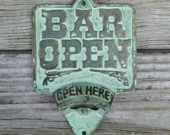 BAR OPEN Wall Mounted Bottle Opener - Fathers Day, Beer Bottle Opener, Bar Decor, Bar Accessories, Bar Ware, Man Cave Decor, Cowboy Gift