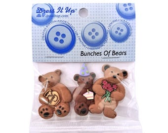 Jesse James Bunches of Bears Novelty Buttons Dress it Up Theme Pack