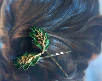 Decorative Hair Pins Grecian Goddess Forest Maiden Bridal Green Leaf Leaves Hairpins Bobby Pins