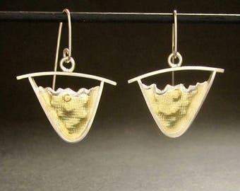 Mountains, Triangle earrings Sterling & 18K bimetal dangle earrings, handmade in USA