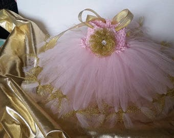 Pink with Gold ties or other colors Costume Tutu Dress Birthday Outfit