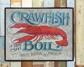 Print: Crawfish Boil Print Seafood theme, beach house decor Louisana mudbugs and beer. Great for a gift, bar decor. Cajun bayou front porch
