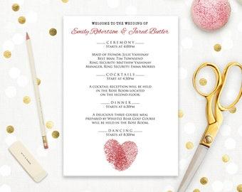 Printable Wedding Ceremony Program Template Love Romantic White & Red Heart - EDITABLE TEXT - Digital Wedding Program Cards print at home
